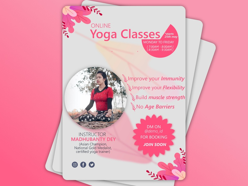 Yoga Class Flyer Design yoga poster flyer design flyer minimal design illustration