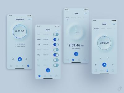 Clock App neumorphic design neumorphism app alarm stopwatch timer clock clock app user experience design user experience user interface design user interface ux design ux ui design