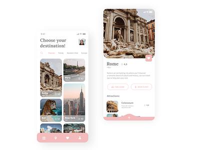 Travel App Design white minimalistic uxui ux ios mobile plane hotel traveling travel app travel