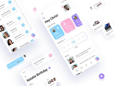 Wisheo App Design contacts buying social friends calendar gift colorfull branding wisheo app design app birthday ios vibrant white ux mobile
