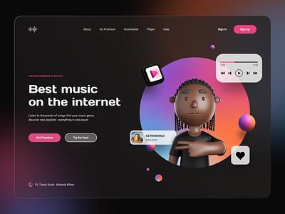 Music Player App Website blur hero header website glassmorphism colors gradient vibrant minimalist black ux ui avatar rap music player music 3d