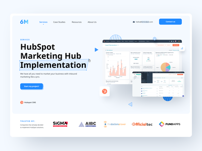 6Minded Website Design visual header figma business hubspot blue white ui clean modern agency marketing webdesign web 6minded