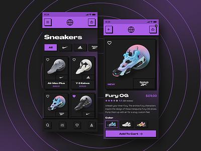 90s Sneaker Store App Design listing product card contrast vibrant purple ux  ui streetwear ecommerce shop shoes app mobile 90s sneakers