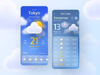Weather Mobile App forecast weather app sun gradient application typogaphy design glassmorphism glass ux  ui app mobile 3d weather