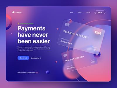 Banking Fintech Web Design web ui  ux homepage payments gradient card desktop app design website header cash money vibrant glassmorphism glass fintech finance banking