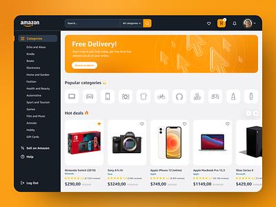 Amazon Website Redesign Concept light dark 3d vibrant desktop interface dashboad categories products shop contrast orange design ux  ui web home page website design ecommerce amazon