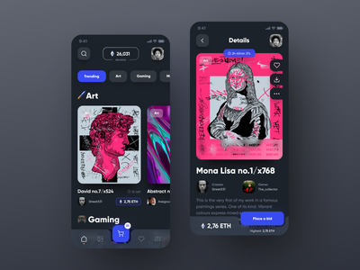 NFT Marketplace - Concept App glass dark wallet gaming app ux  ui mobile art nftart concept crypto blockchain ethereum cryptocurrency digital art