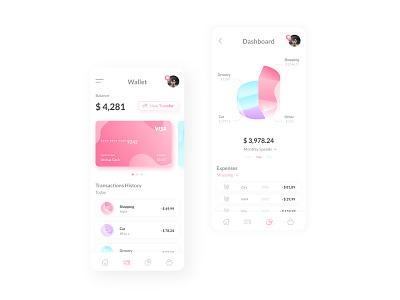 Mobile Banking App Design uxui ux bankingapp mobile card wallet chart clean white vibrant finance banking money