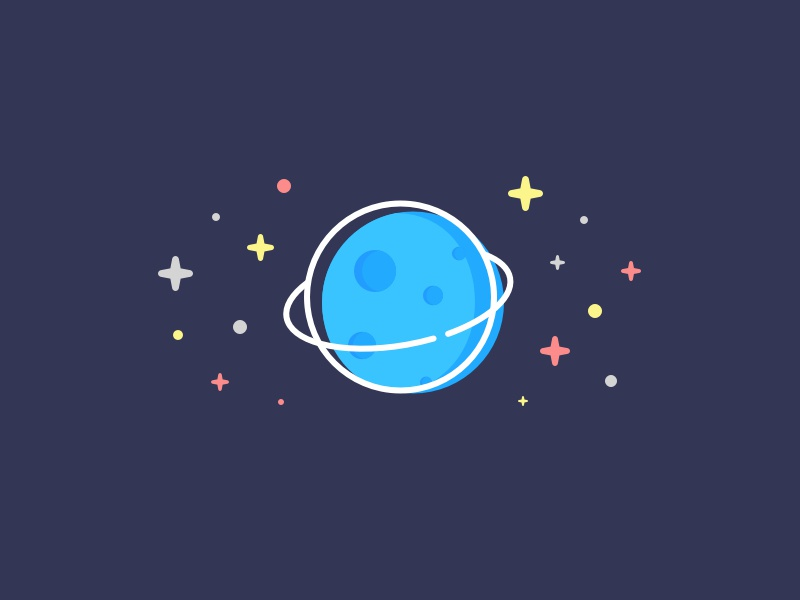 Blue Planet debut stars illustration space vector blue planet