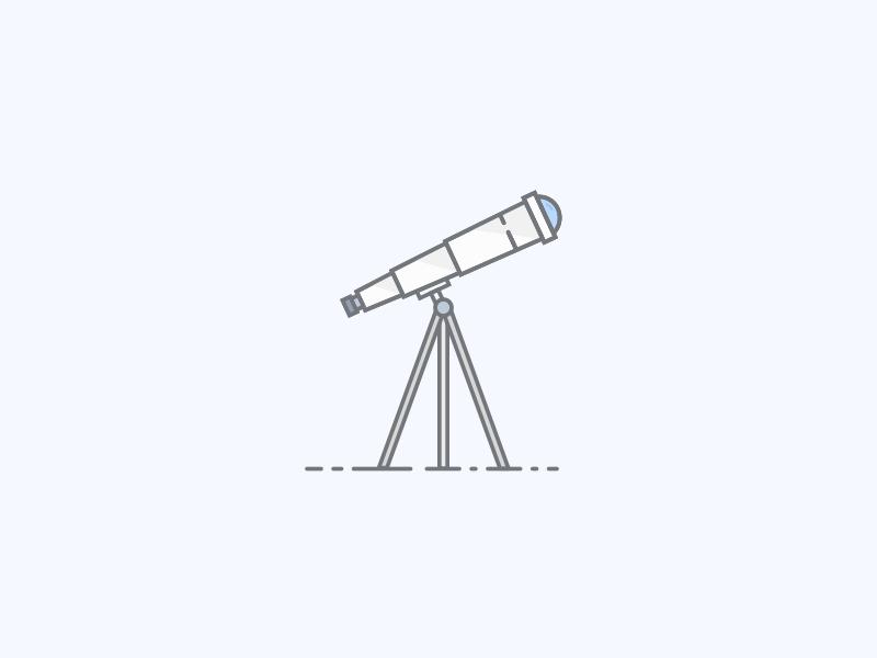 Telescope vector sketch illustration sky night blue telescope
