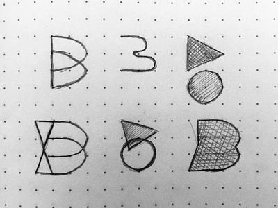 Sketching the alphabet - B logo mark letter sketch