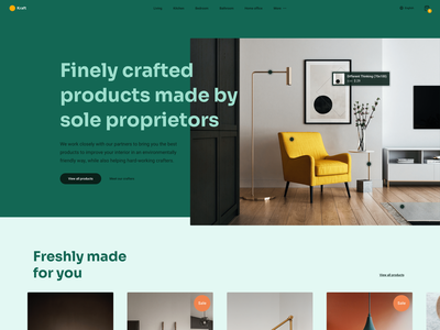 Interior Webshop Homepage crafters crafter craft orange yellow green shop furniture interior webshop ui website typography homepage webdesign design