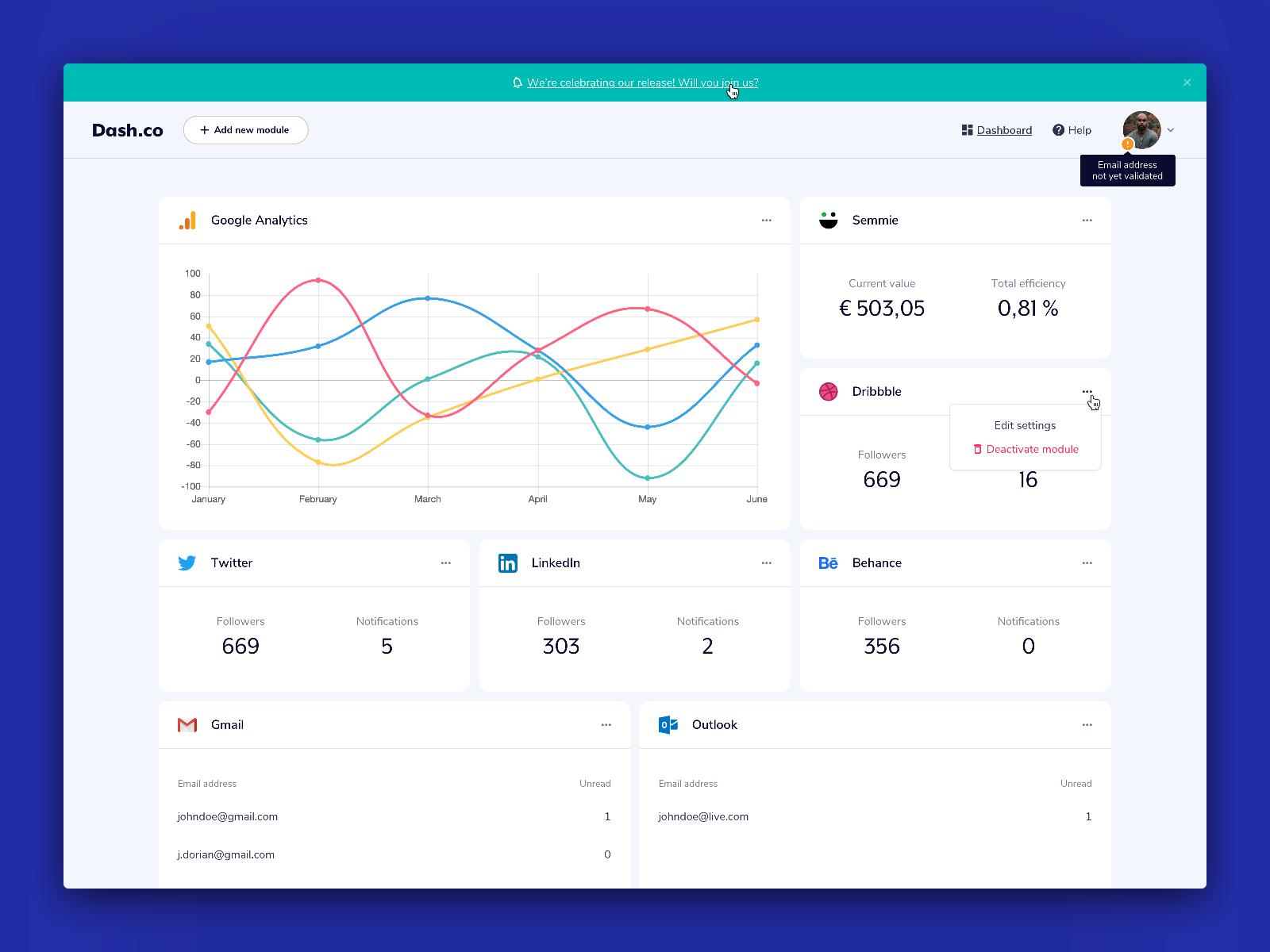 Dashboard App Concept (V2)