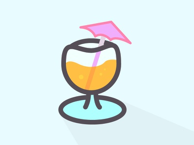 Is it Friday yet? tropical flat pink umbrella graphic design line art icon alcohol drink mimosa