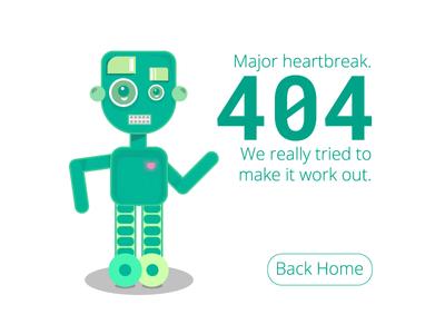 Major Heartbreak ui design flat ui illustration illustrator 404 404 error ui flat grain mesh gradient heartbreak