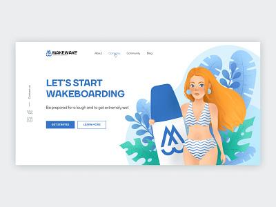 Wakeboarding illustration wakeboarding desktop website procreate illustration figma