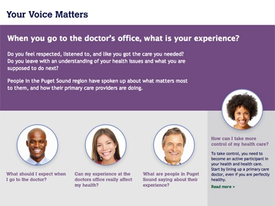 Your Voice Matters landing page washington healthcare ui ux pushdesign css3