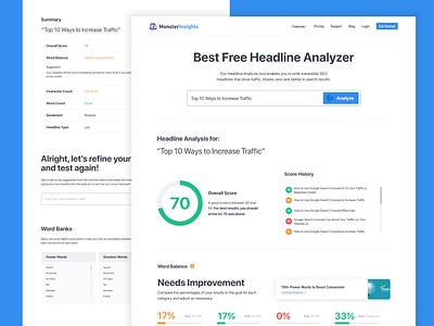 Headline Analyzer infographic web app wordpress gutenberg uiux ui productdesign charts chart product