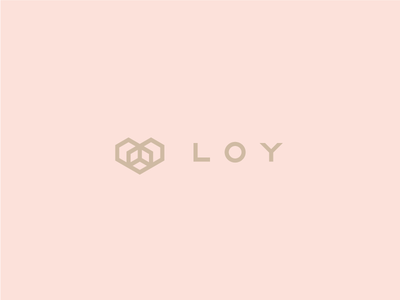 L O Y gold pink cube heart sign grotesque identity fashion minimalism