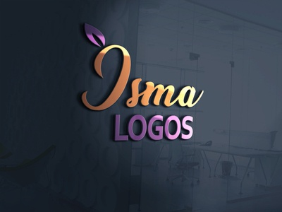 glass wall 3d logo with my name