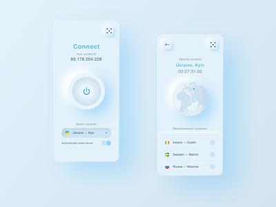 Sky VPN App location icons figma ux ui mobile proxy vpn neumorphic neumorphism sky design app ios
