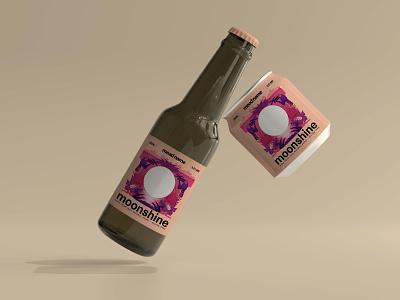 Moonshine Label design mockup pineappleflavour brewing company label packaging beerbottle beer label label design digital illustration illustration