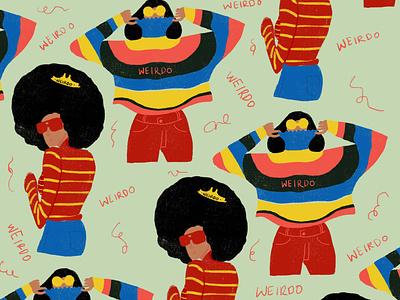 Weirdo brightcolours beweird ladies design illustration