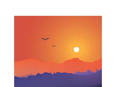 Gradient 2 mountains vector brightcolours experiment part2 practise gradient landscape graphicdesign graphic