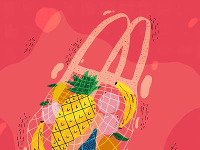 Fruit basket vector fruit illustration fruit fruits basket illustration practise brightcolours