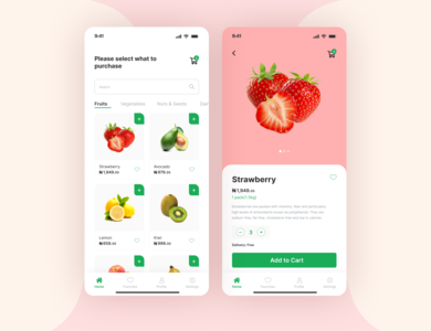 Fruity fruit strawberry mobile app design mobile app fruit app minimal typography design ux ui product design