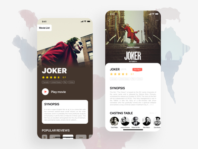 Movie Interface ux ui typography movie art movie app movie mobile app joker ios film face design dark clown cinema bold black batman artwork app