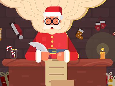 Santa Claus senta new year illustrations holidays midnight winter glasses list gift think read write pen man old man claus flat lucky