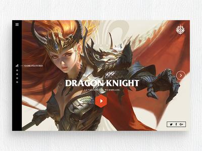 Dragon Knight landing page ux ui responsive dashboard design web flat game