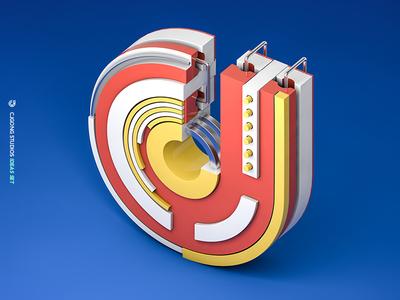 CJ #02 brand set blue logo color c4d