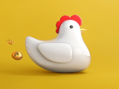 chicken gold egg chicken illustration grid c4d 3d