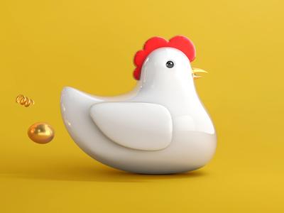 chicken gold egg chicken illustration grid c4d 3d