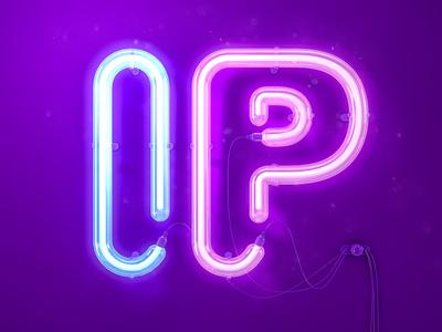 IP night ip puple light golw neon illustration c4d 3d