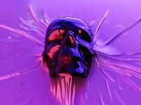 skull futurism scifi skull render octane synthwave retrowave cyberpunk 3d c4d