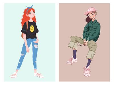 Girls fashion original character original art illustration drawing procreate digital painting digital illustration character design