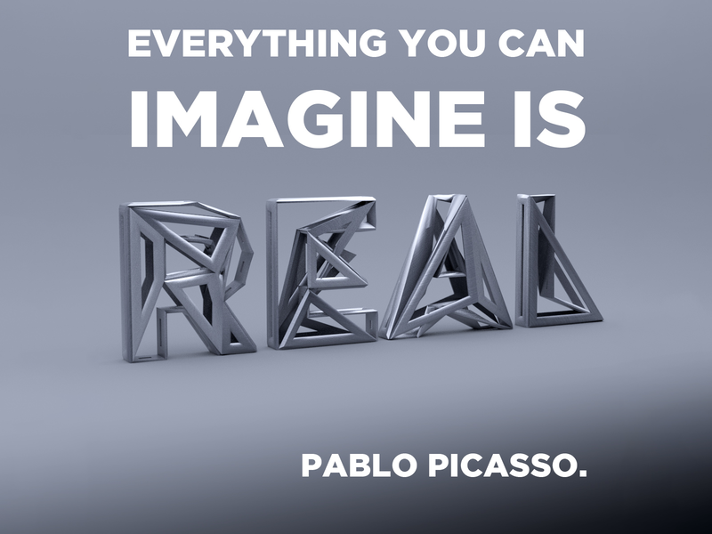 Quote (Picasso) cinema4d 3d typography quote