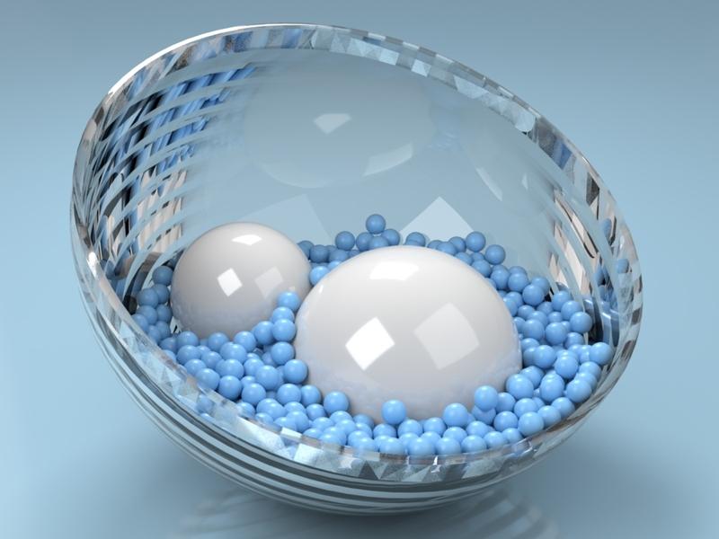 Bowl blue reflections light design shiny glass spheres cinema4d 3d