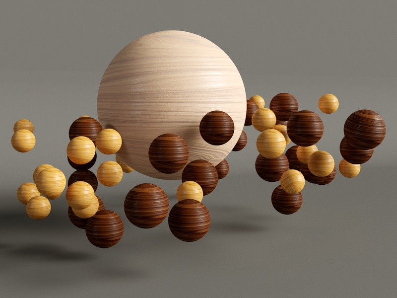 Wood balls textures wood abstract design cinema4d 3d