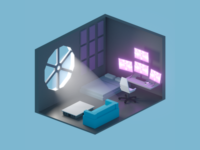 Isometric rooms room isometric isometry iso cg illustration concept design cinema4d 3d