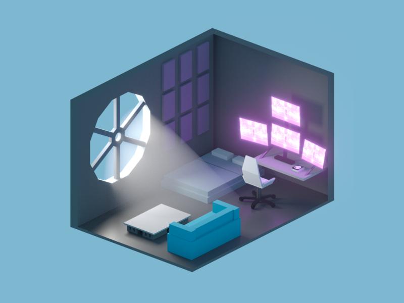 Isometric rooms room isometric isometry iso cg illustration concept design cinema4d 3d
