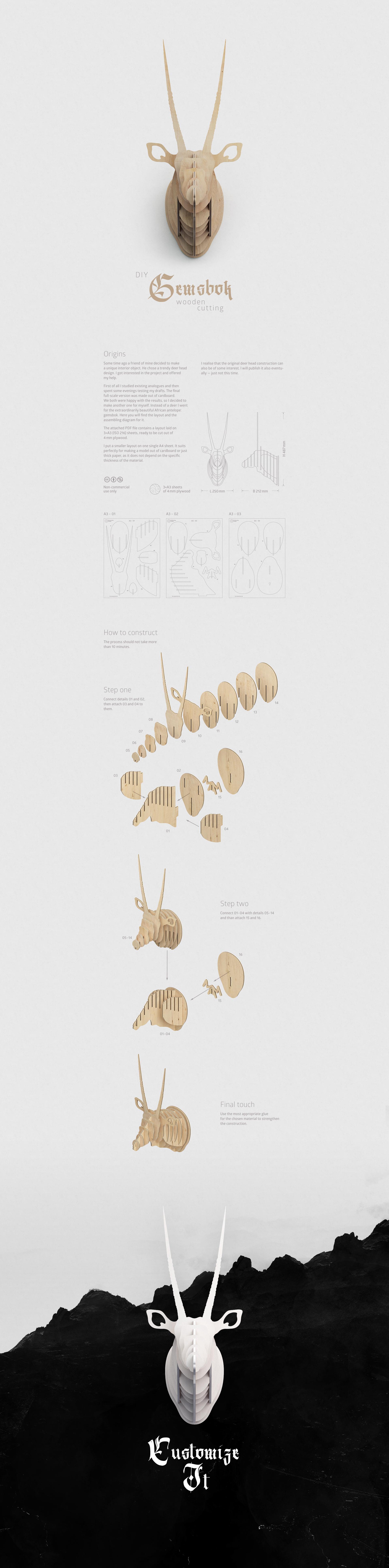 Diy wooden gemsbok