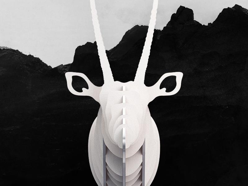 DIY Wooden Gemsbok diy gemsbok wood cut handmade handcraft interior animal head