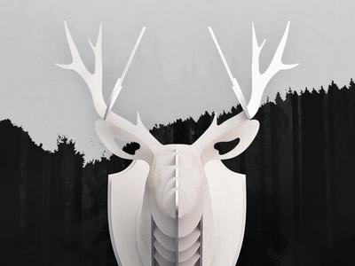 DIY Wooden Deer Head head animal interior handcraft handmade cut wood deer diy