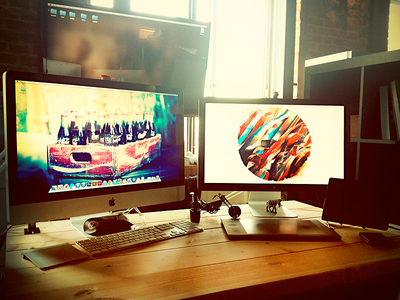 My new workplace in AltSpace workplace altspace apple thunderbolt display wacom office imac ipad trackpad tv chopper