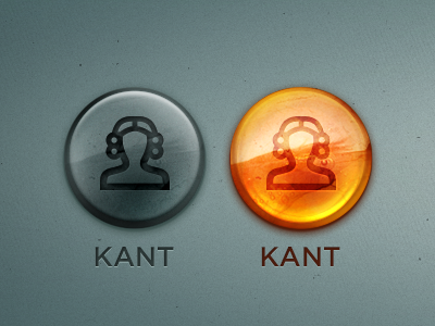 Kaliningrad App — Buttons ios ipad presentation immanuel kant buttons active passive icon amber