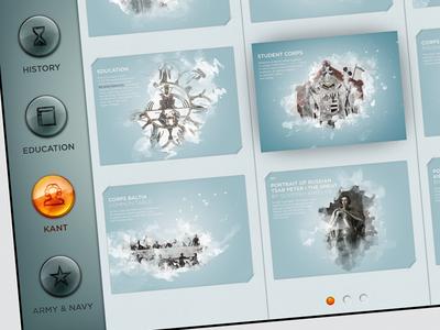 Kaliningrad App — Menu ios ipad presentation buttons active passive icon amber menu pagination history education kant armynavy army navy